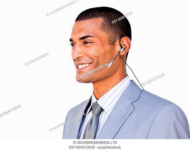 Smiling Confident businessman with headset on