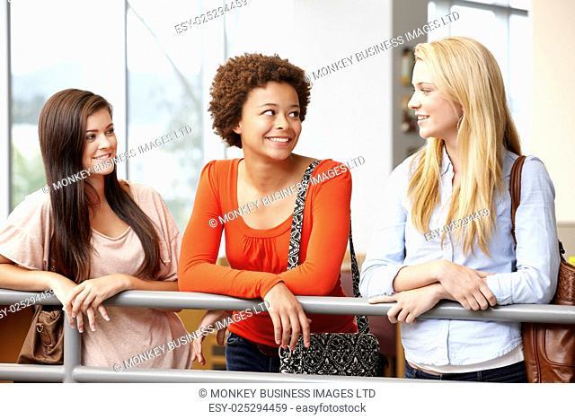 Teenage student girls chatting indoors