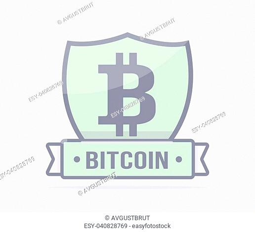 Cryptocurrency logo. Mining and blockchain. Bitcoin protection