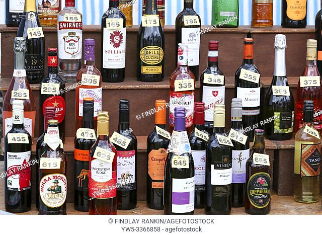 selection of wine bottles and spirits used as raffle prizes