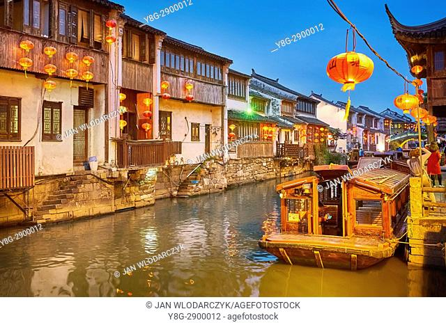 Shantang Canal at evening, Suzhou, China