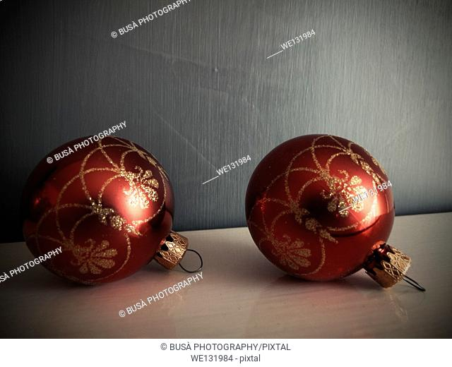 Two Traditional Red and Gold Christmas balls