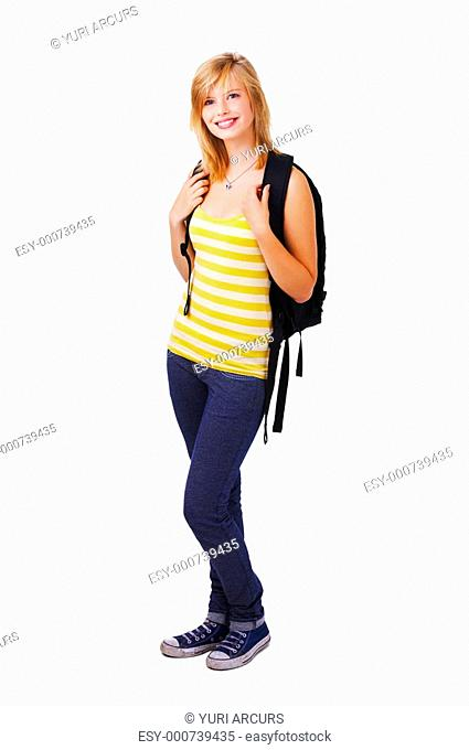 Isolated full-body portrait of a beautiful young female student