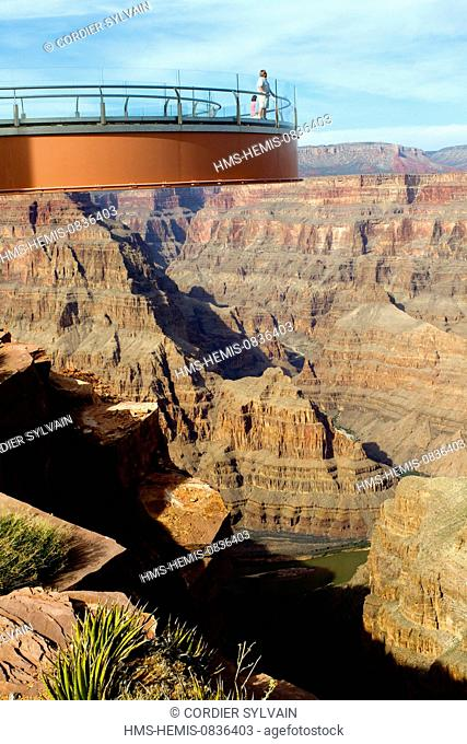 United States, Arizona, Grand Canyon National Park, listed as World Heritage by UNESCO, view from the Grand Canyon's West Rim, Skywalk