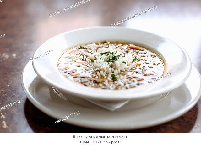 Bowl of gumbo with rice