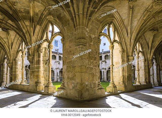 The Silence Cloister of Santa Cruz Monastery with the Ribbed Vaults, Sofia Area, Coimbra, Baixo Mondego, Centro Region, Portugal, Europe
