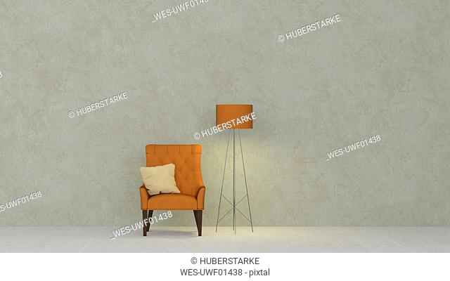 3D rendering, Yellow armchair and floor lamp against marbled wall