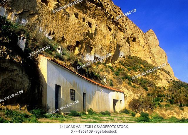 Cave houses at Terrera del Calguerin troglodyte quarter.Cuevas de Almanzora, Almeria province, Andalucia, Spain