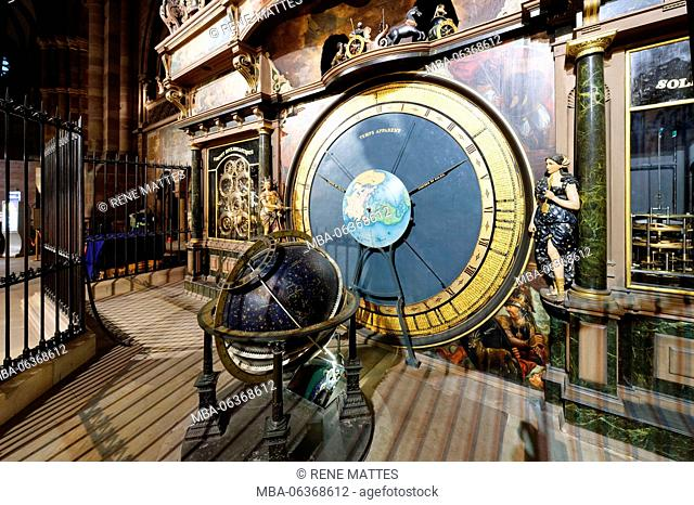 France, Bas Rhin, Strasbourg, old town listed as World Heritage by UNESCO, Notre Dame Cathedral, the celestial sphere of the astronomical clock