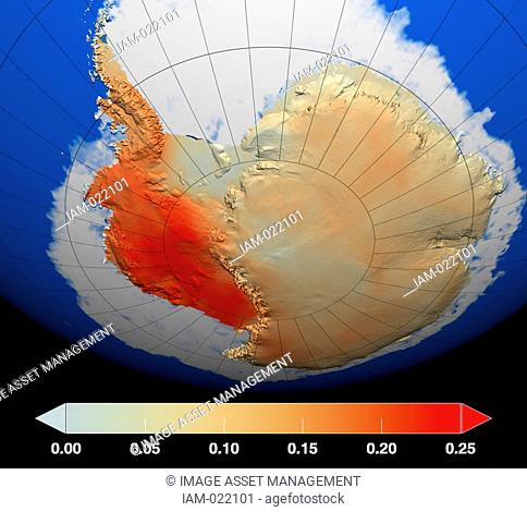 Red represents areas where temperatures have increased the most during the last 50 years, particularly in West Antarctica