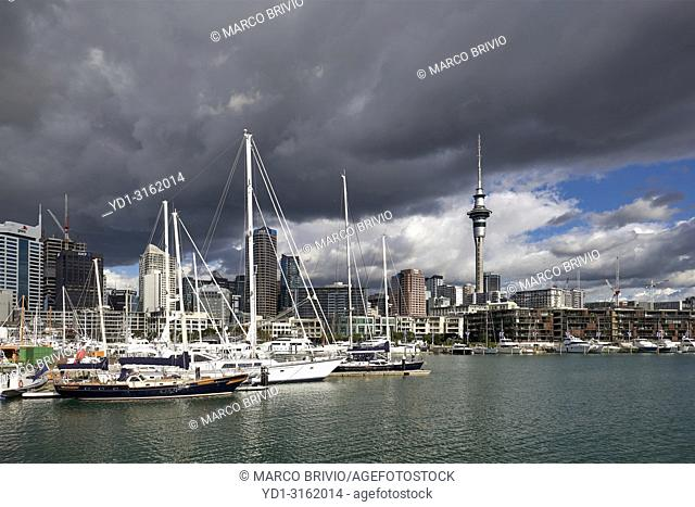 Auckland New Zealand. The skyline from Viaduct Harbour