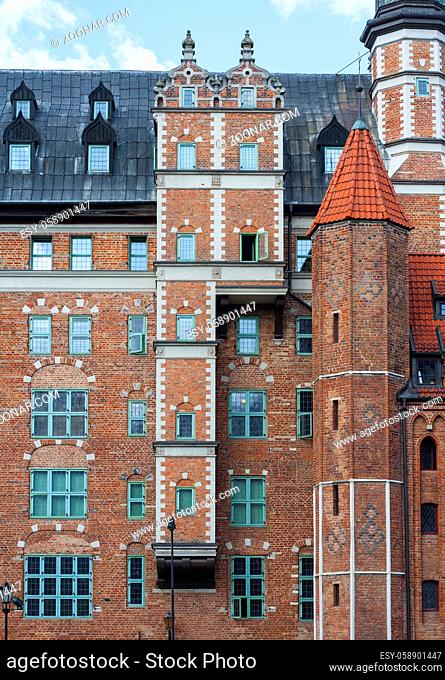 Renaissance brick build House of the Society of Naturalists with distinctive multistorey oriel at Long Riverside in Gdansk, Poland