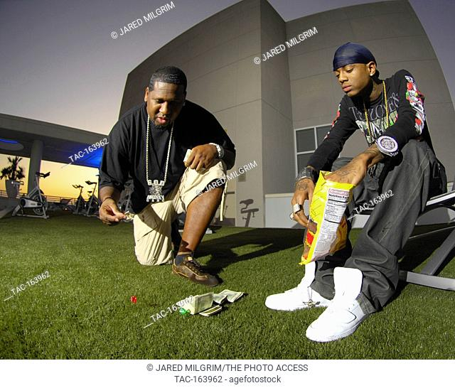 Deandre Way aka Soulja Boy (r) and Miami Mike portrait on October 15, 2009 in Los Angeles, California