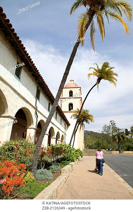 A vertical view of Mission Santa Barbara, or Santa Barbara Mission, in Santa Barbara, California, USA