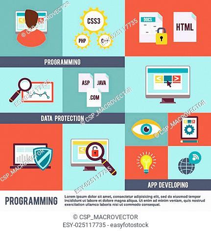 Programmer Icon Flat Set