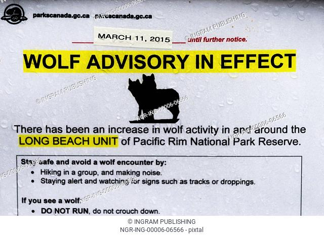 Close-up of information sign, Pacific Rim National Park Reserve, British Columbia, Canada
