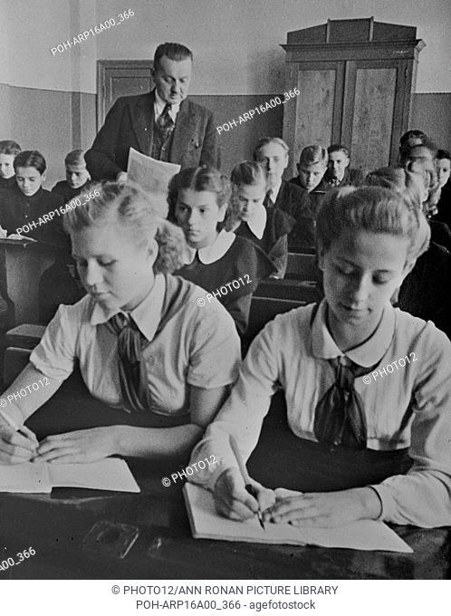 Sixth grade school room in the Latvian USSR (Union of Soviet Socialist Republics).between 1930 and 1940
