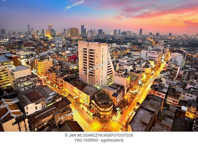 Thailand - Bangkok city view at sunset time, view from Grand China Princess Hotel, Bangkok