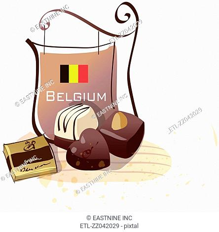 Chocolates with a signboard of Belgian flag