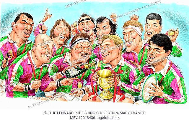 Famous rugby players (Martin Johnson, JPR Williams, Brian Moore, Gareth Edwards, Willie John McBride, Gavin Hastings, Keith Wood, Bill Beaumont, Jonny Wilkinson