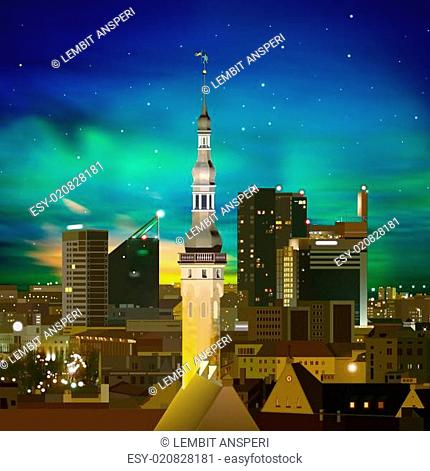 abstract night background with Tallinn and sunset
