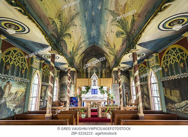 "Interior of Saint Benedict's Catholic Church, the """"Painted Church"""", Honaunau, South Kona, Big Island of Hawaii"