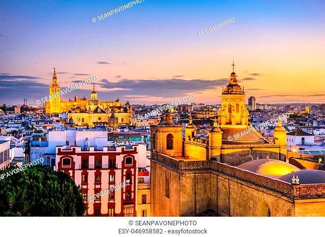 Seville, Spain skyline in the Old Quarter