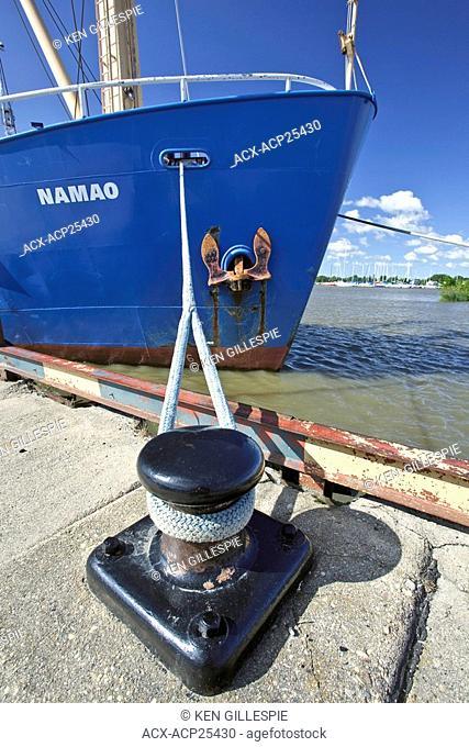 Canadian Coast Guard research vessel, the Namao on Lake Winnipeg. Docked in Gimli, Manitoba harbour