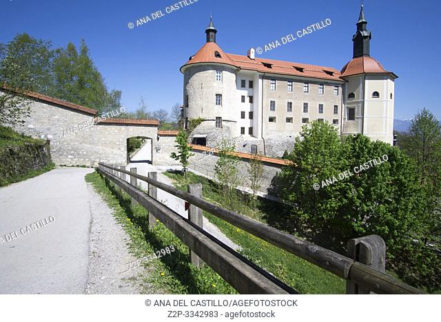 SKOFKA LOKA SLOVENIA ON APRIL 21, 2019: Castle at Medieval city