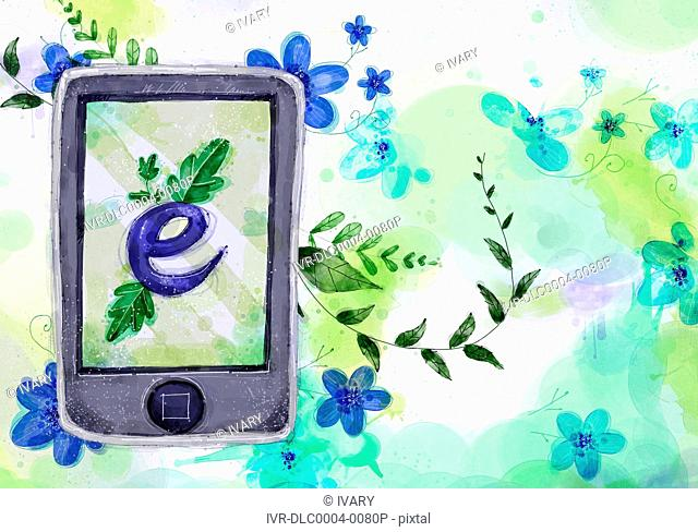 Mobile Phone With E Symbol On Flora Background