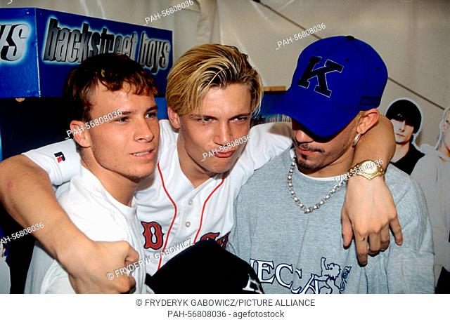 Backstreet Boys (l-r): Brian Littrell, Nick Carter, Alexander James McLean on 23.08.1997 in Hamburg.   usage worldwide. - Hamburg/Germany