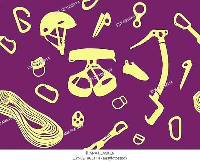 Climbing items seamless pattern