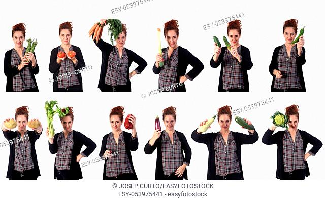 portrait of a woman with different vegetables in white background