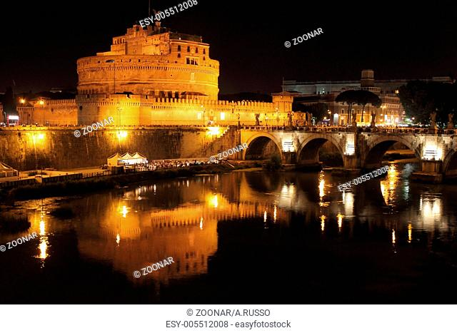 Saint Angel Castle and the Angels bridge by night