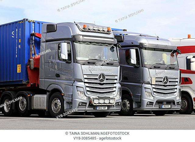Two Mercedes-Benz Actros trucks of G&S Transport, UK parked on Finnish truck stop yard on a day of summer. Hirvaskangas, Finland - June 15, 2018