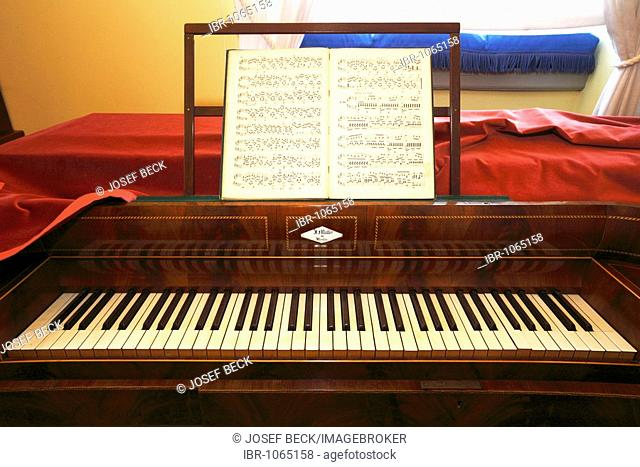 Fortepiano from 1830 in the study of Felix Mendelssohn Bartholdy in Mendelssohn House, Leipzig music trail, Leipzig, Saxony, Germany, Europe