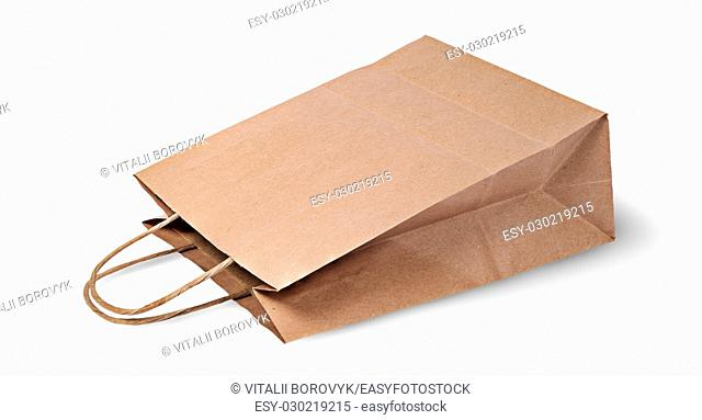 Empty open brown paper bag for food lying isolated on white background