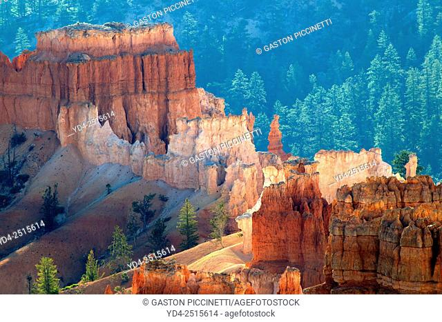 Beautiful colours in the Sunrise Point, Bryce Amphitheater, Bryce Canyon National Park, Uth, USA
