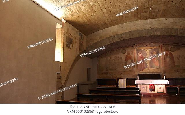 Interior, PAN, View of the Crypt located in the Northern Transept. Seen are the Altar and Wall Frescoes