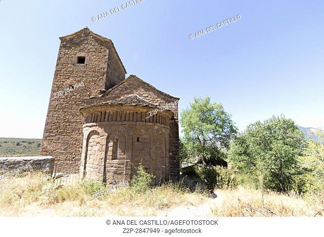 Medieval village Satue in Serrablo Huesca Aragon Spain San Andres de Satue church