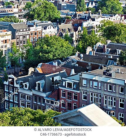 View of the city from Wester Kerk church, Amsterdam, Netherlands