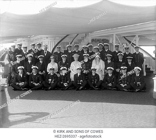 King George V and Queen Mary on board 'HMY Victoria and Albert', 1927. Creator: Kirk & Sons of Cowes