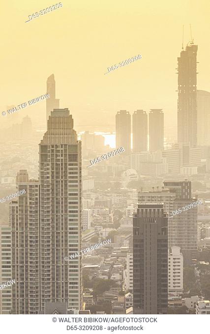 Thailand, Bangkok, Lumphini Area, high angle city skyline, dusk