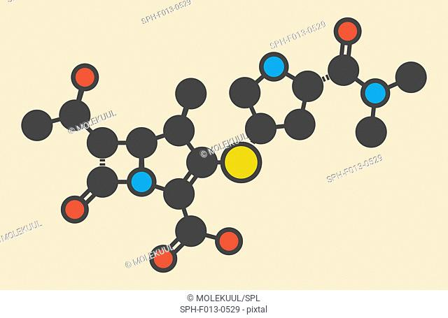 Meropenem broad-spectrum antibiotic (carbapenem class), chemical structure Stylized skeletal formula (chemical structure)