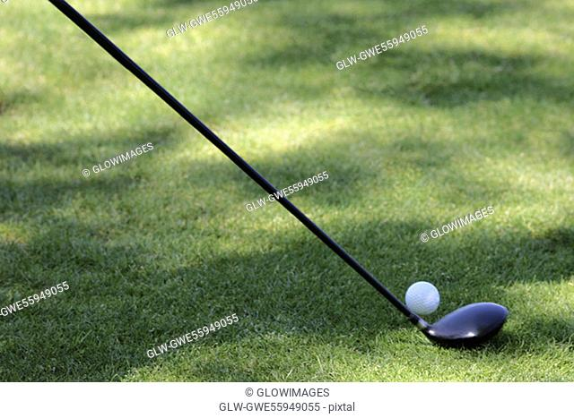 High angle view of a golf ball and a golf club on a golf course