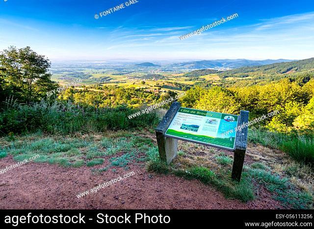 Le Mont Brouilly et le Beaujolais, vue depuis la terrasse de Chiroubles