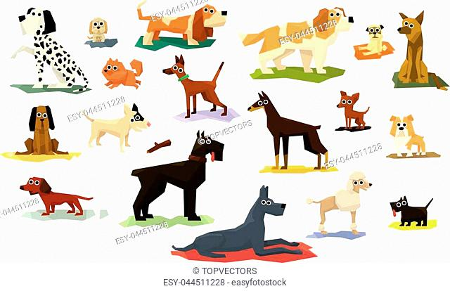 Different Dog Breeds Set Of Bright Color Simplified Geometric Style Flat Vector Illustrations On White Background