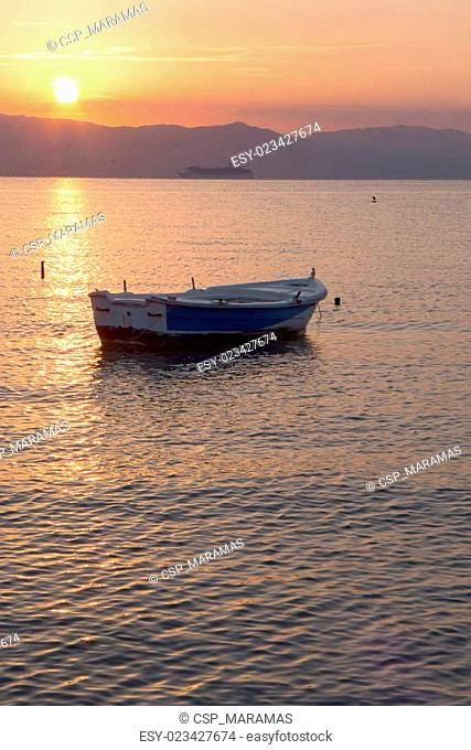 barge at sea in the morning