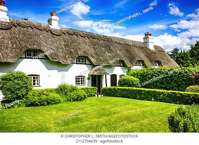 Row of white painted Thatched roof Cottages at Swan Green Lyndhurst in Hampshire England