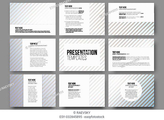 Set of 9 templates for presentation slides. Diagonal lines patterns, pastel vector backgrounds